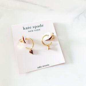 ❤️❤️ Kate Spade Dainty Heart Huggies Earrings